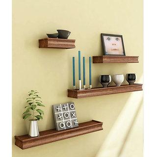 Onlineshoppee Beautiful Wooden Brown Rectangular Wooden Wall Shelf