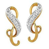 Zig-Zag Ribbon Shape Diamond Earring Studded With Real Gold And Diamonds (Bge072)