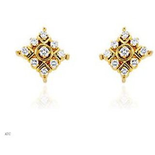 Avsar Real Gold And Diamond Traditional Square Earrings # Ave011