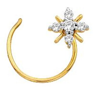 Avsar Real Gold And Diamond 5 Stone Star Shape Nosering Avno009