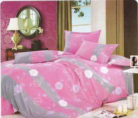 Just Linen Set of 6 Floral Printed Micro Cotton Double Bed Set