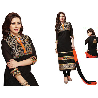 332eebc844 Dhwani Collections Cotton Embroidered Salwar Suit Dupatta Material