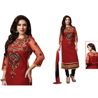1e6e93b1c1 Dhwani Collections Cotton Embroidered Salwar Suit Dupatta Material  (Unstitched)