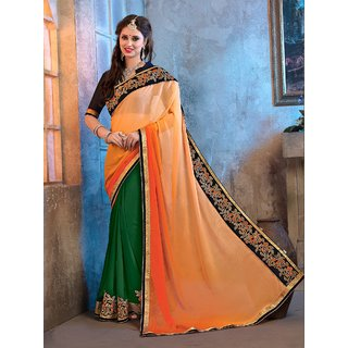 Vani creations Multicolor Brocade Self Design Saree With Blouse