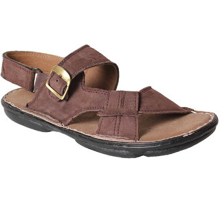 Leather Soft Men's Brown Velcro Sandals