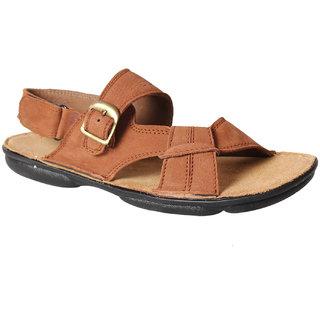 Leather Soft Men's Tan Velcro Sandals