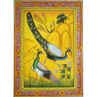 mughal peacock painting