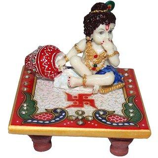 White Marble Chowki Laddoo Gopal Lord Kanha Idol