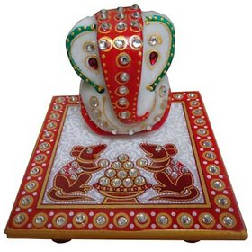 Fashion Bizz Handicraft Marble Ganesh Chowki