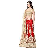 Janasya WomenS Red Net Heavy Embroidered Lehenga