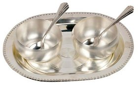 Gifts Vale German Silver 2 Bowl 2 Spoon  Tray Set