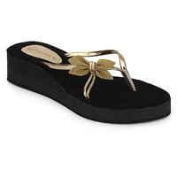 Berry Purple Light Weight Slip On In Black And Golden Color