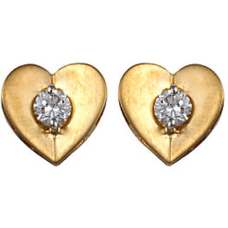 Ag Real Diamond Solitaire Diamond  Traditional Heart Earring # Agse0027