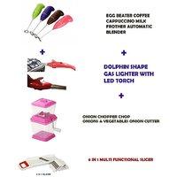Egg Beater Blender + Dolphin Shape Gas Lighter + Onion Chopper + 6 In 1 Slicer