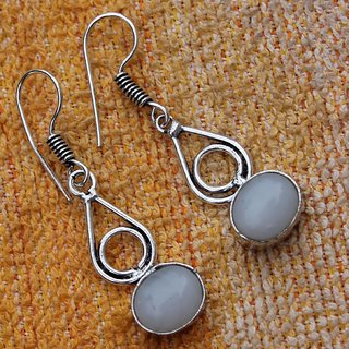 WHITE CHALCEDONY.925 STERLING SILVER OVERLAY DANGLE EARRING SZ 1 1/2