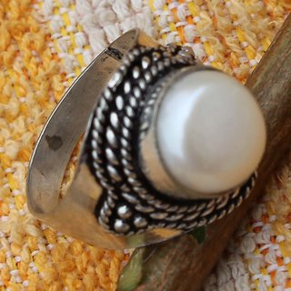 SEED PEARL .925 STERLING SILVER OVERLAY CLASSIC RING SZ 7 JEWELLERY