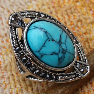 EXCLUIVE TURQUOISE .925 STERLING SILVER OVERLAY MARCASITE RING SZ 6.25 JEWELLERY