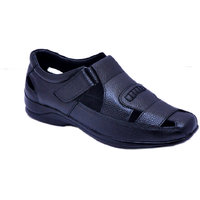 evlon black leather sandal