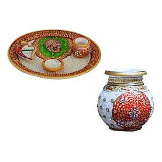 Combo of Marble Kalash and Pooja Thali
