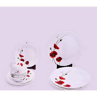 Larah 18 Pcs Dinner Set Fluted Red Carnation
