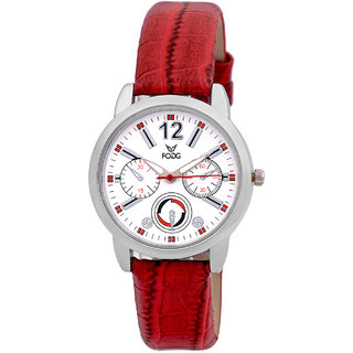 Fogg 3010-WH-RD Analog womens watch