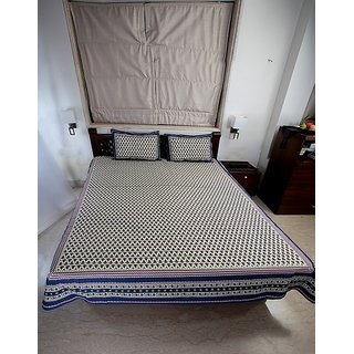 Double bedsheet Set in Cotton Printed Allover in Blue and Purple - Queen Size