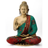 Redbag Lord Gautam Buddha Beautifully Engraved - Brass Statue 4779