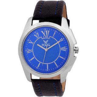 Fogg Fashion Store Round Dial Black Leather Strap Quartz Watch For Men