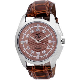 Fogg Fashion Store Round Dial Brown Leather Strap Quartz Watch For Men