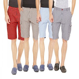 Factorydirect Men's Multicolor Shorts (Set of 4)
