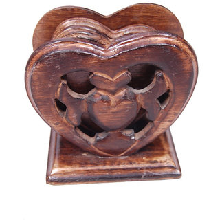 Onlineshoppee Wood Handicrafts Heart Shape Coaster Set  (LxBxH-4x3.5x4.5)Inch