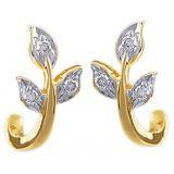 Ag Real Diamond Six Stone Leaf Shape Fashion Earring Agse0047