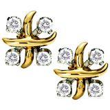 Ag Real Diamond Eight Stone X Shape Fancy Earring Agse0057