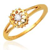 Ag Real Diamond Solitaire Diamond Fancy Flower Ring Agsr0035