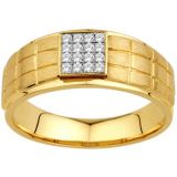 Ag Real Diamond Stone Classic Gents Square Ring Agsr0063