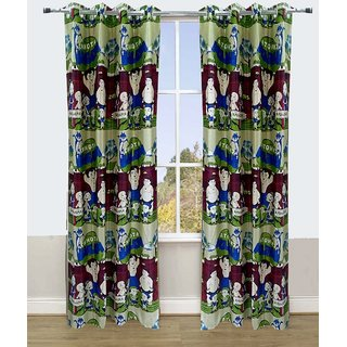 Polyester Multicolor Kids Eyelet Door Curtain