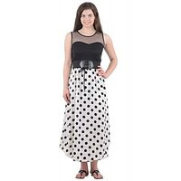 Westchic Black And White Dotted A Line Dress For Women
