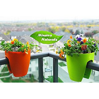 Minerva Naturals-Balcony Railing Planter Assorted Color  ( Set Of 4 Pcs)