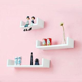 Onlineshoppee Wooden  Wall Decor Designer Wall Shelf Pack of 3 Color-White