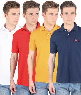Swank Pro Lapes Men'S Multicolor Polo T-Shirt Set Of 4