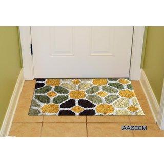 Aazeem Dark Brown And Green Door Mat