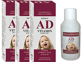 AD Vitamin Baby Massage Oil - vitamin A, D, E and OLIVE oil ( pack of 3 )
