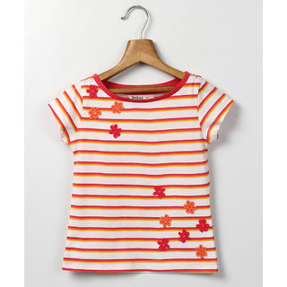 Beebay Boat Neck Flower Patch T-Shirt Off-White