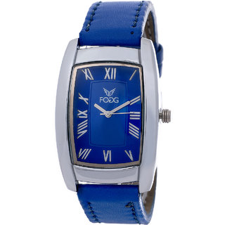 Fogg Fashion Store Square Dial Blue Leather Strap Quartz Watch For Men