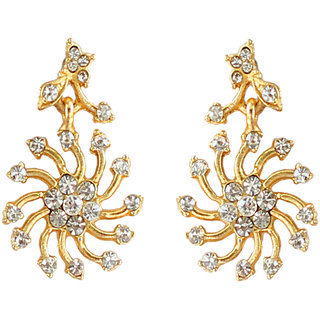 Touchstone Gold Everyday Wear Alloy Casual Gold Plated American Diamond Dangle Earrings