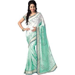 Swaron Multicolor Banarasi Silk Printed Saree With Blouse