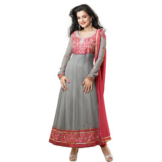 Fabdeal Grey & Orange Colored Georgette Embroidered Semi-Stitched Salwar Suit (GJEDR1119RS)