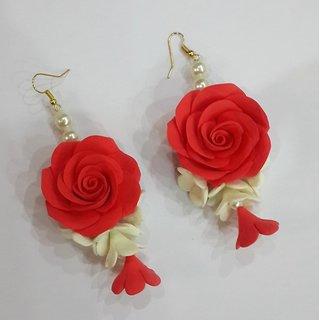 ClayKraft Rose Earrings (Red)