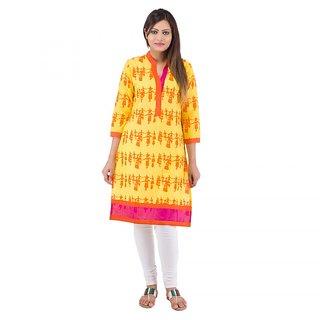Rashmika Creation Yellow Printed Collar Neck Cotton Kurti