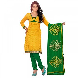 BanoRani Yellow Chanderi Embroidered UnStitched Regular Fit